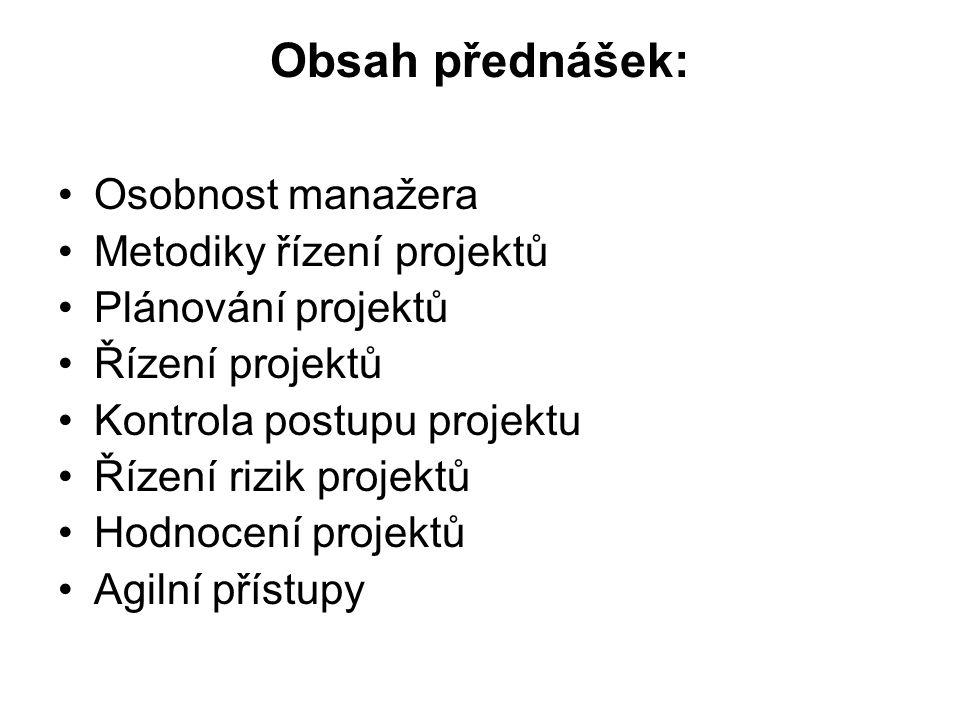 Obsah přednášek: Osobnost manažera Metodiky řízení projektů