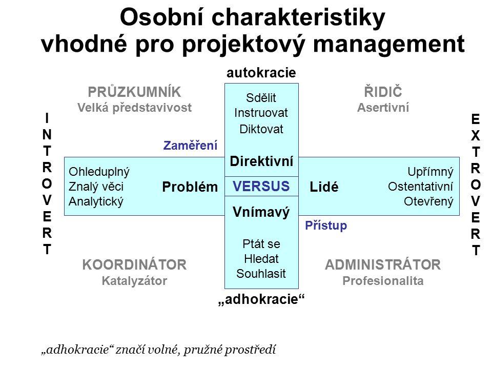 Osobní charakteristiky vhodné pro projektový management