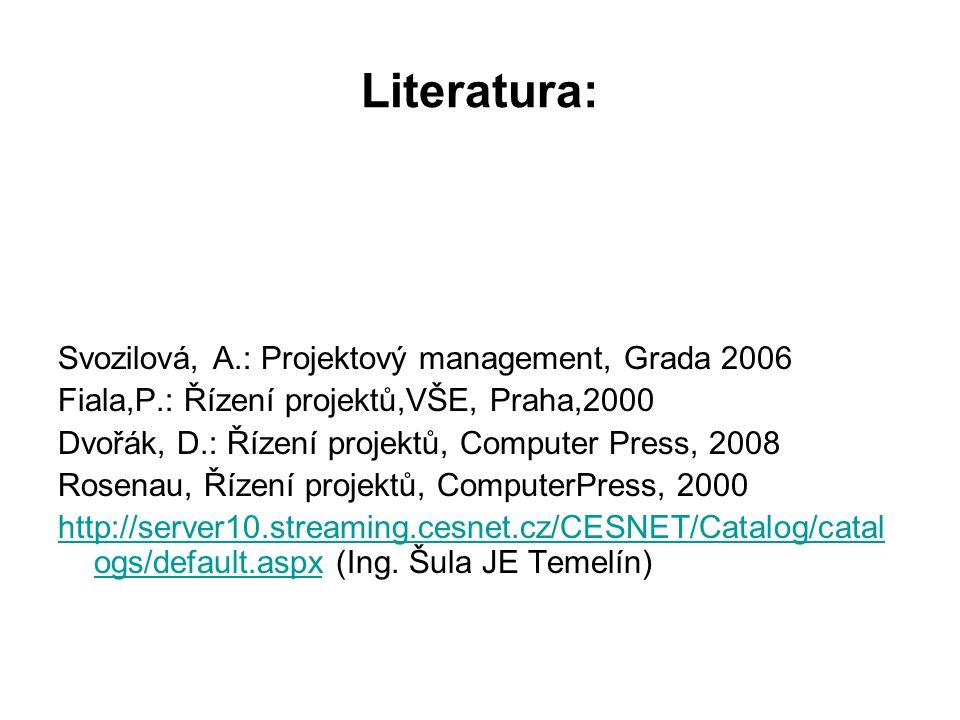 Literatura: Svozilová, A.: Projektový management, Grada 2006