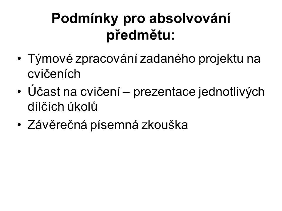 Podmínky pro absolvování předmětu: