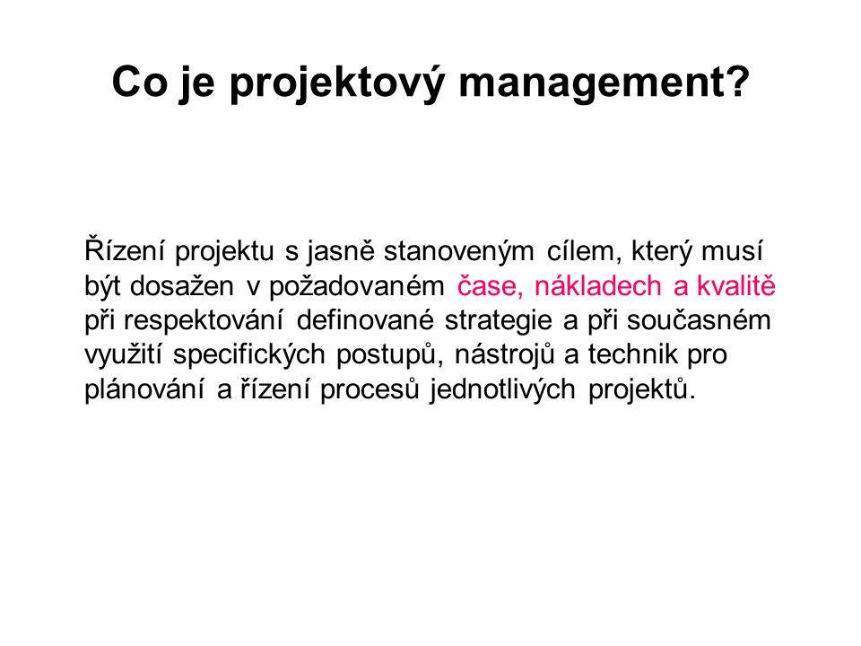 Co je projektový management