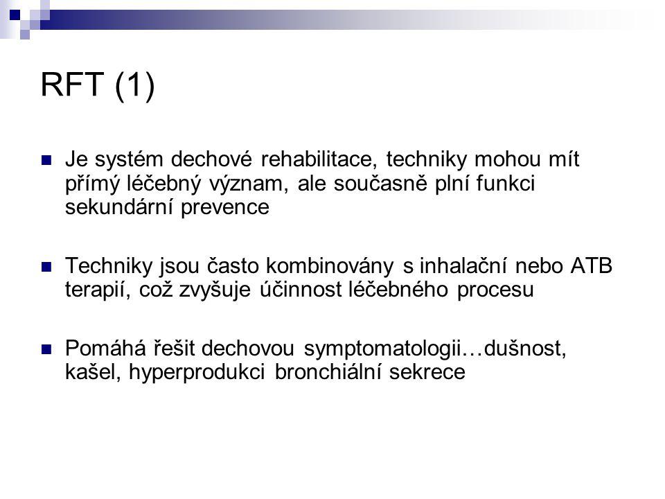 RFT (1) Je systém dechové rehabilitace, techniky mohou mít přímý léčebný význam, ale současně plní funkci sekundární prevence.