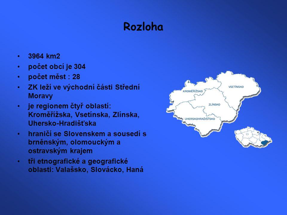 Rozloha 3964 km2 počet obcí je 304 počet měst : 28
