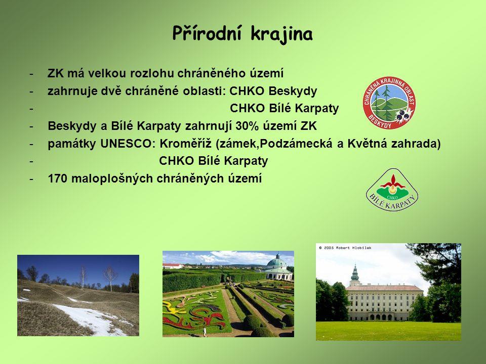Přírodní krajina ZK má velkou rozlohu chráněného území