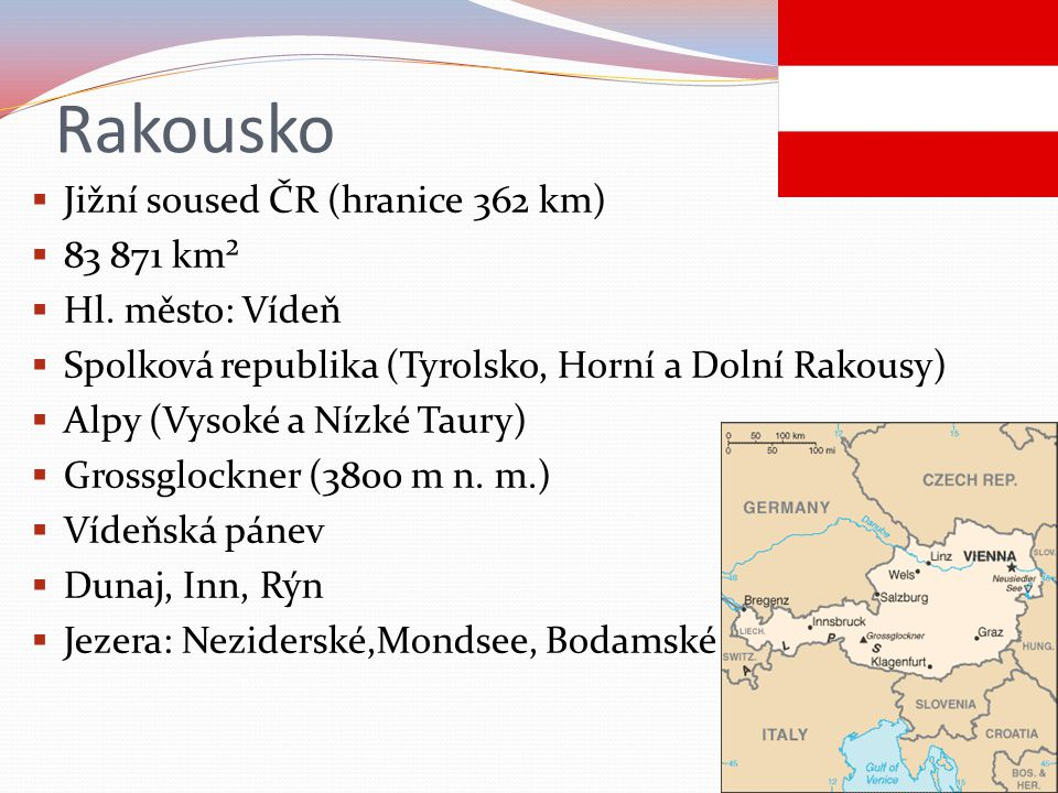 Rakousko Jižní soused ČR (hranice 362 km) 83 871 km² Hl. město: Vídeň