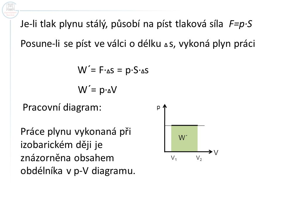 Je-li tlak plynu stálý, působí na píst tlaková síla F=p·S