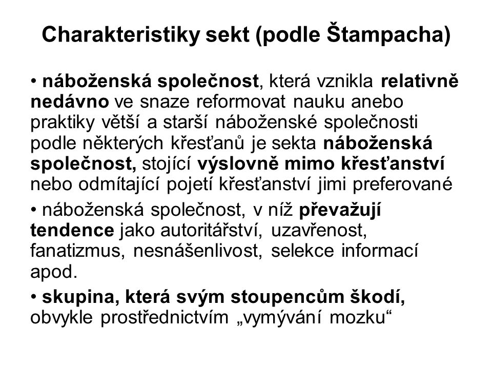 Charakteristiky sekt (podle Štampacha)