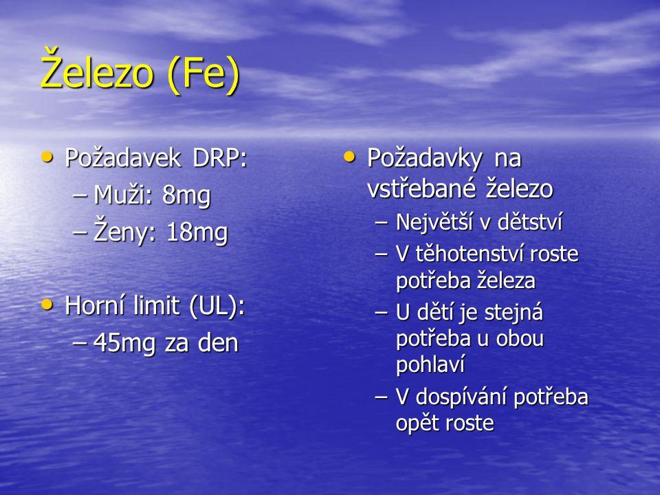 Železo (Fe) Požadavek DRP: Muži: 8mg Ženy: 18mg Horní limit (UL):