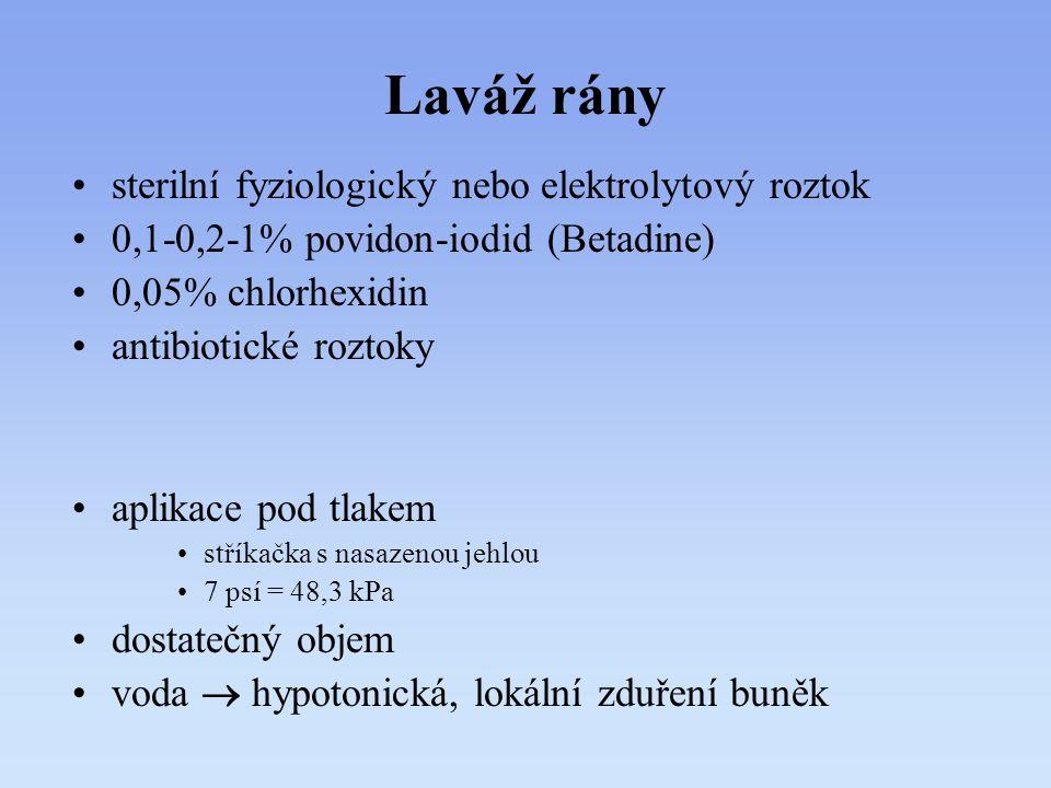 Laváž rány sterilní fyziologický nebo elektrolytový roztok