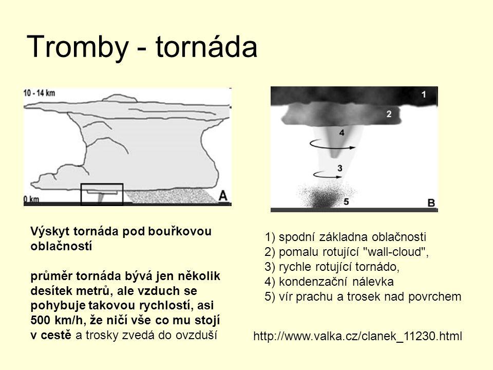 Tromby - tornáda Výskyt tornáda pod bouřkovou oblačností