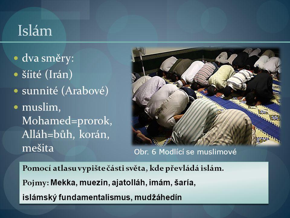 Islám dva směry: šíité (Irán) sunnité (Arabové)