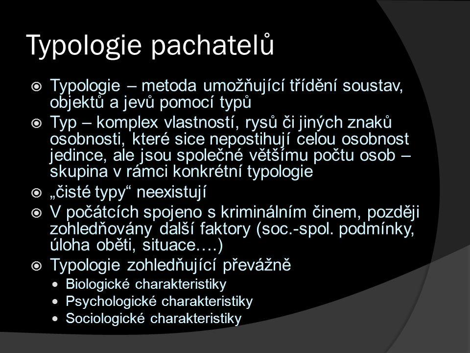 Typologie pachatelů Typologie – metoda umožňující třídění soustav, objektů a jevů pomocí typů.