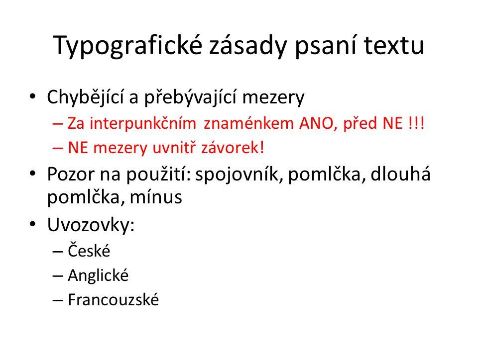 Typografické zásady psaní textu