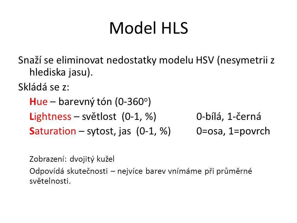 Model HLS Snaží se eliminovat nedostatky modelu HSV (nesymetrii z hlediska jasu). Skládá se z: Hue – barevný tón (0-360o)