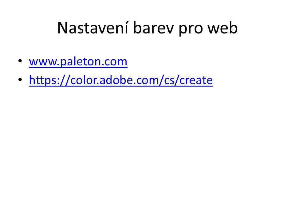Nastavení barev pro web