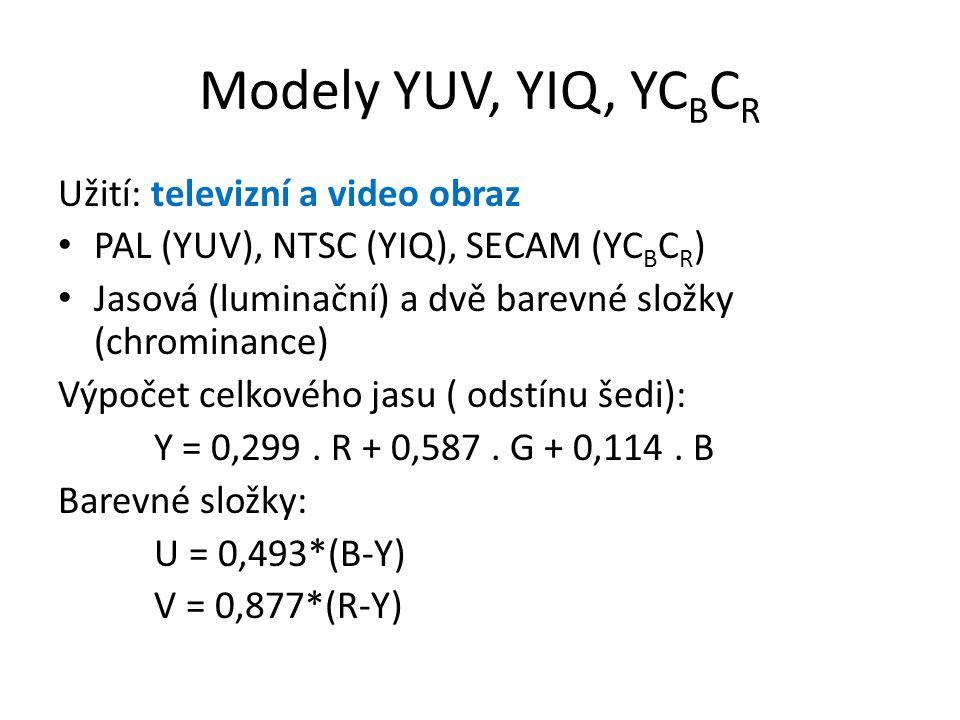 Modely YUV, YIQ, YCBCR Užití: televizní a video obraz