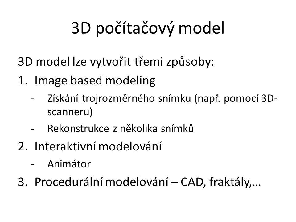 3D počítačový model 3D model lze vytvořit třemi způsoby: