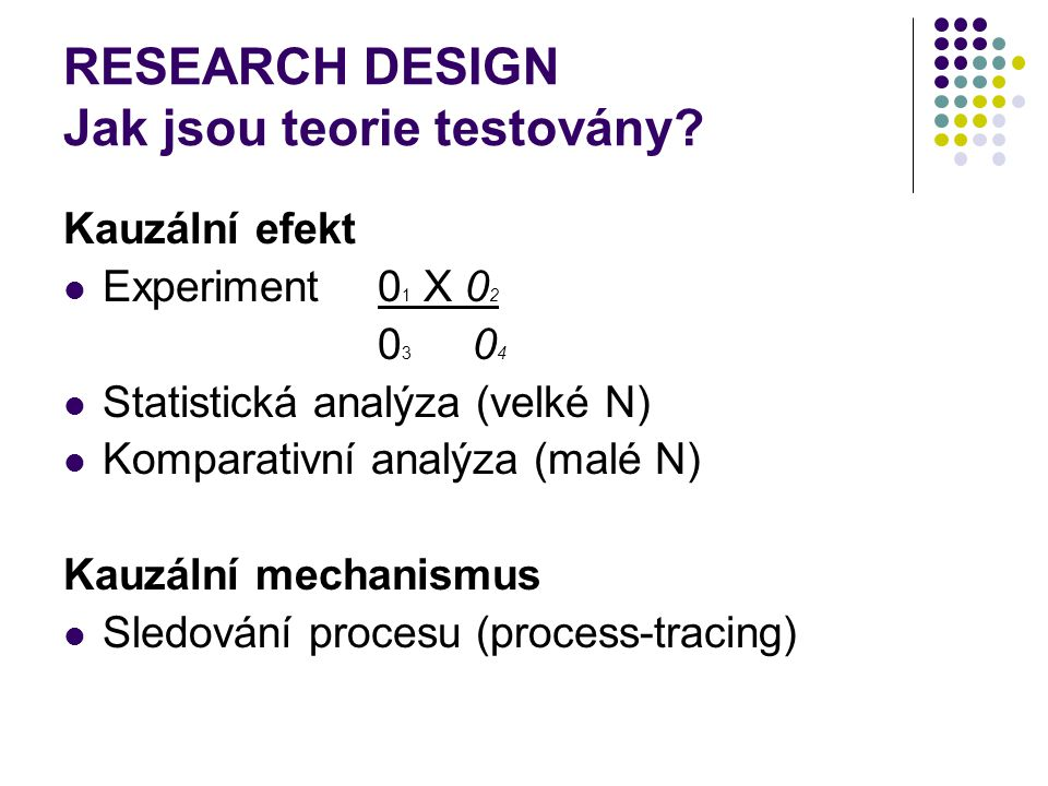 RESEARCH DESIGN Jak jsou teorie testovány