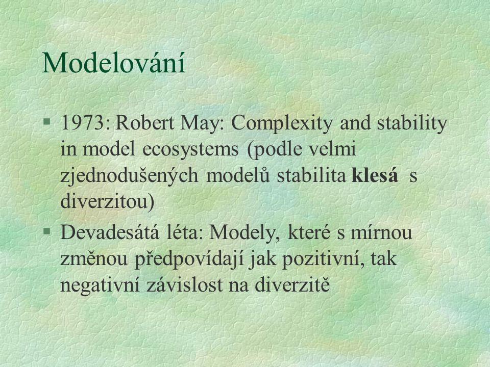 Modelování 1973: Robert May: Complexity and stability in model ecosystems (podle velmi zjednodušených modelů stabilita klesá s diverzitou)