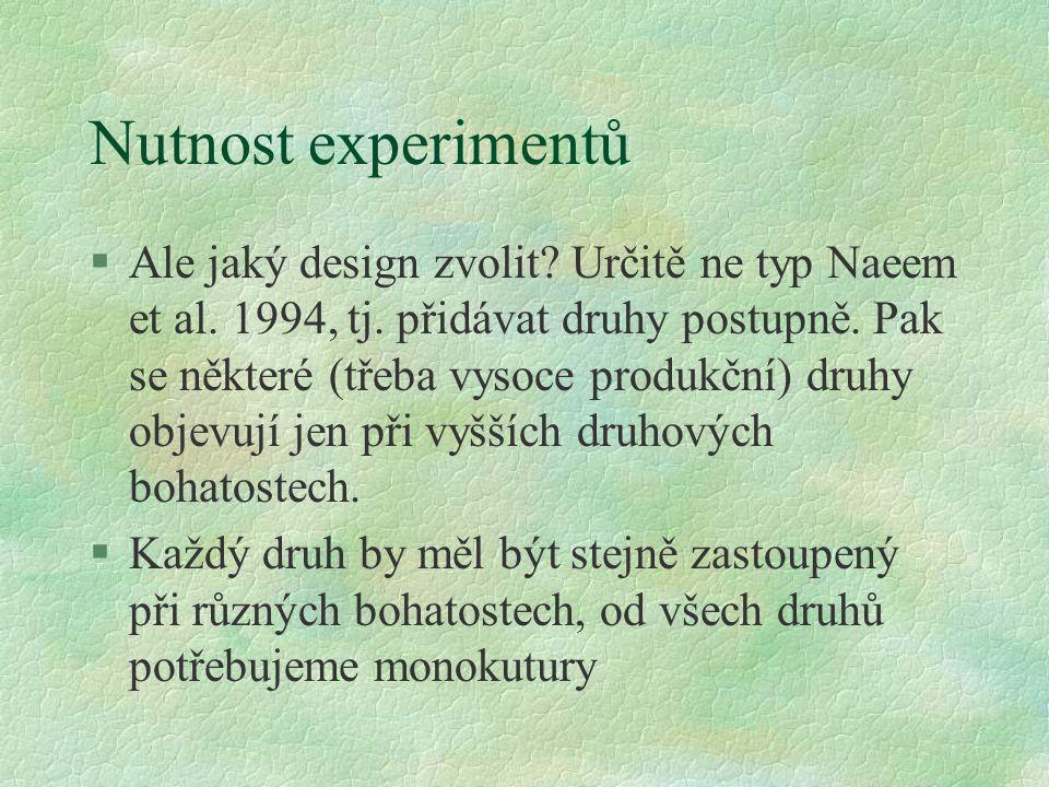 Nutnost experimentů