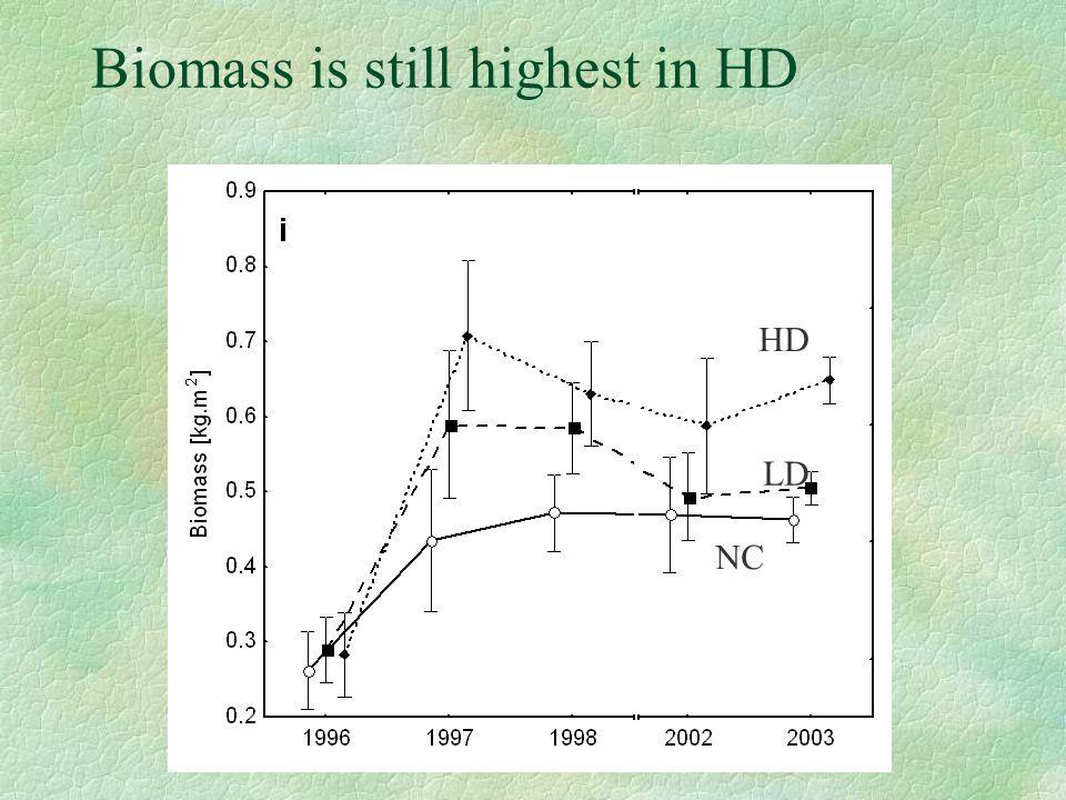 Biomass is still highest in HD