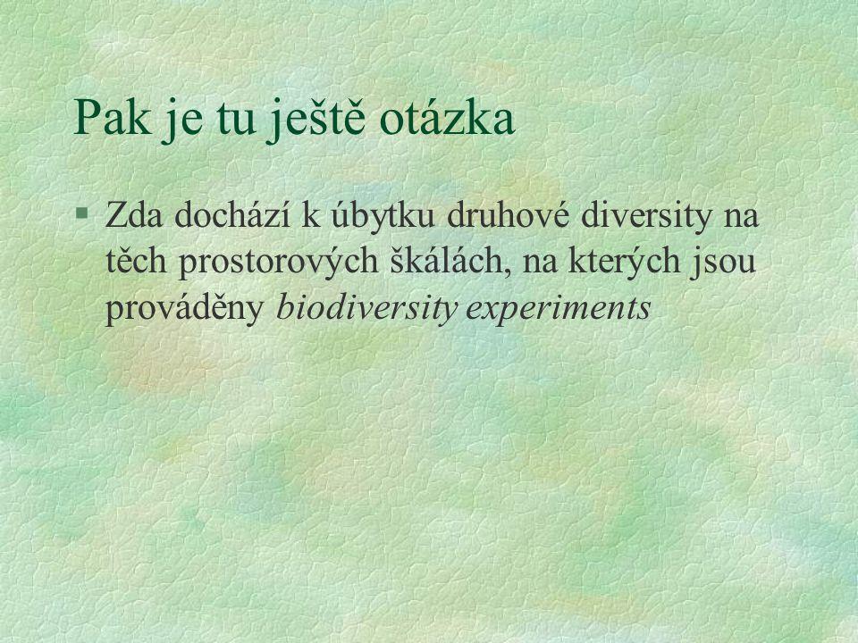 Pak je tu ještě otázka Zda dochází k úbytku druhové diversity na těch prostorových škálách, na kterých jsou prováděny biodiversity experiments.