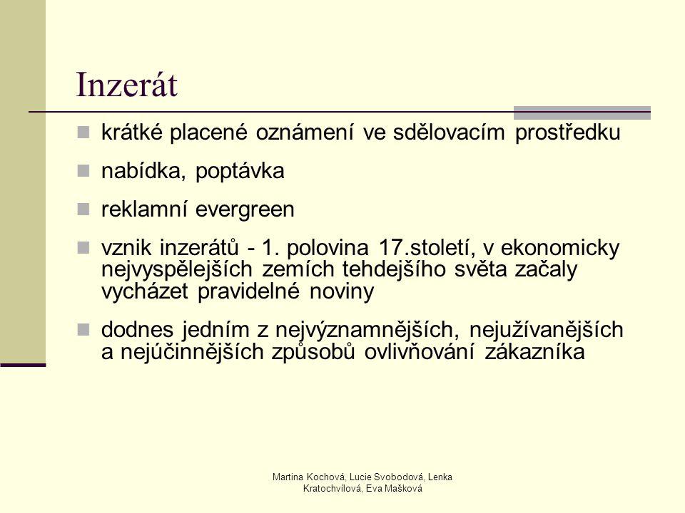 Martina Kochová, Lucie Svobodová, Lenka Kratochvílová, Eva Mašková