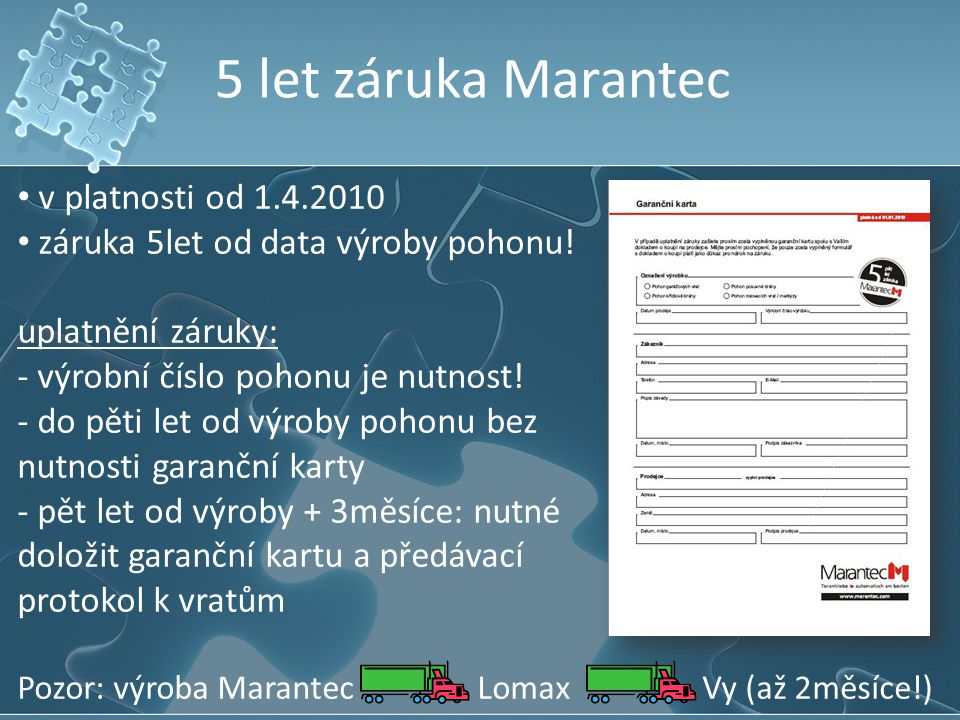 5 let záruka Marantec v platnosti od 1.4.2010