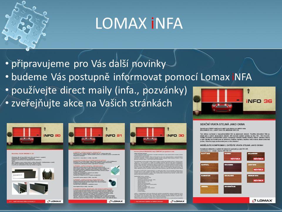 LOMAX iNFA připravujeme pro Vás další novinky
