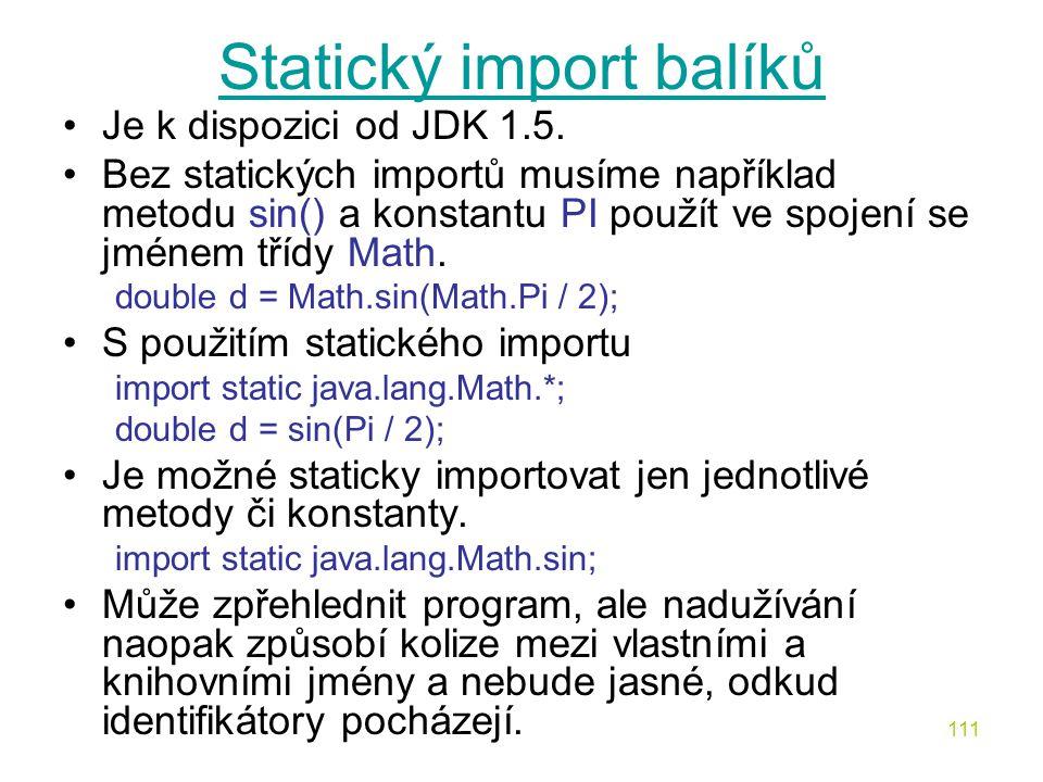 Statický import balíků