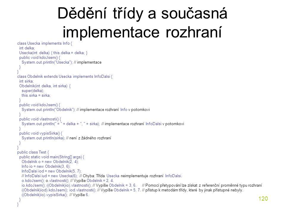 Dědění třídy a současná implementace rozhraní