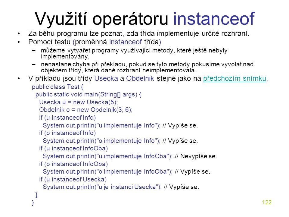 Využití operátoru instanceof