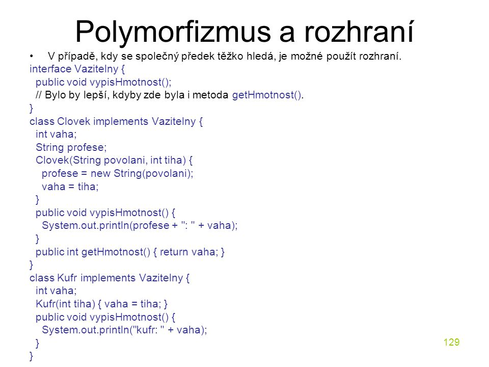 Polymorfizmus a rozhraní