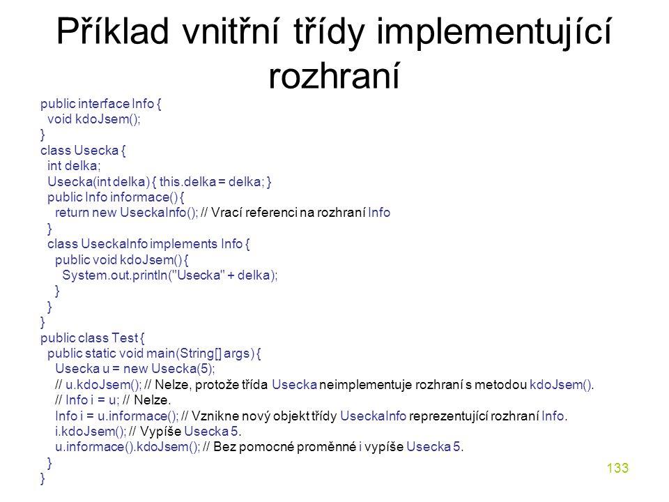 Příklad vnitřní třídy implementující rozhraní