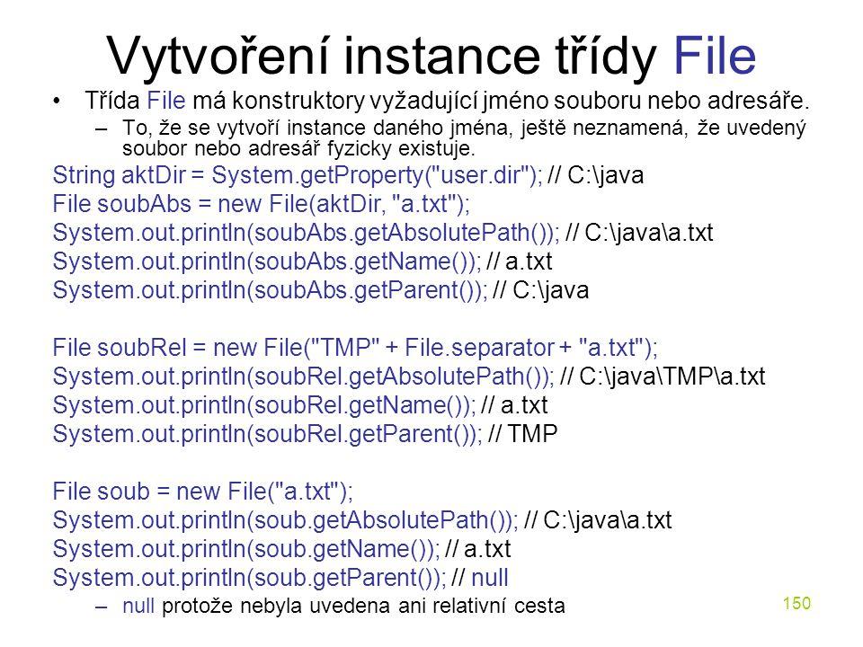 Vytvoření instance třídy File
