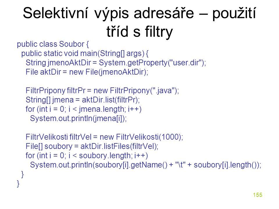 Selektivní výpis adresáře – použití tříd s filtry