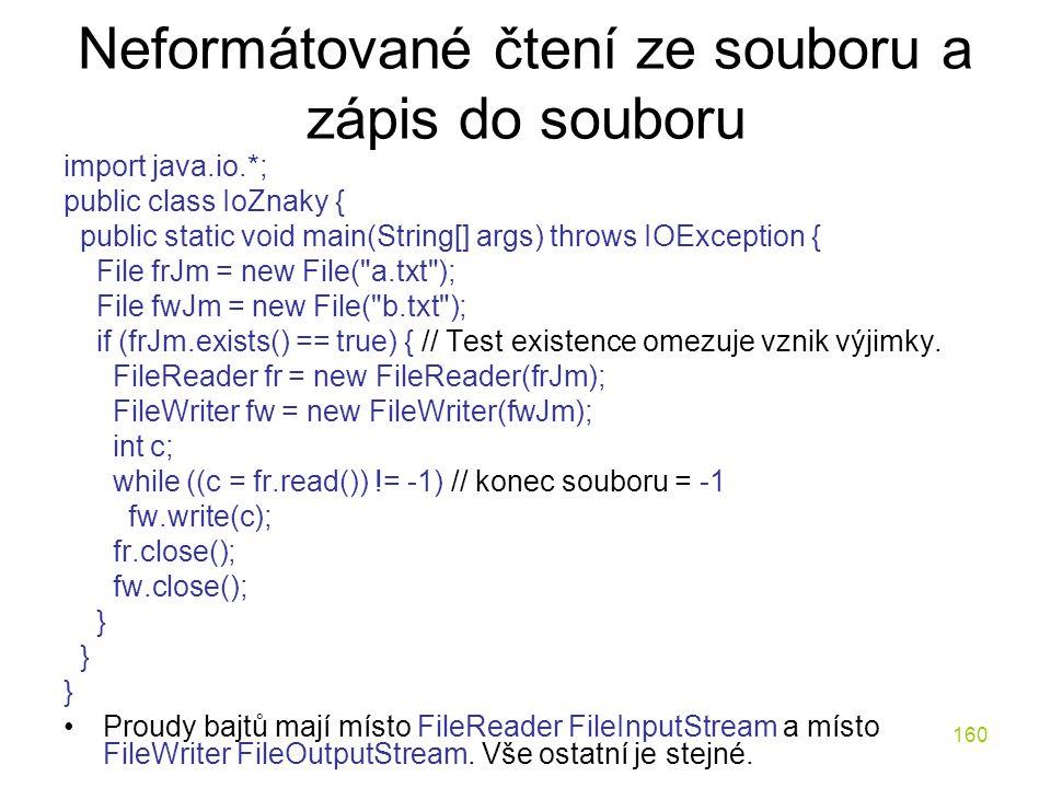 Neformátované čtení ze souboru a zápis do souboru