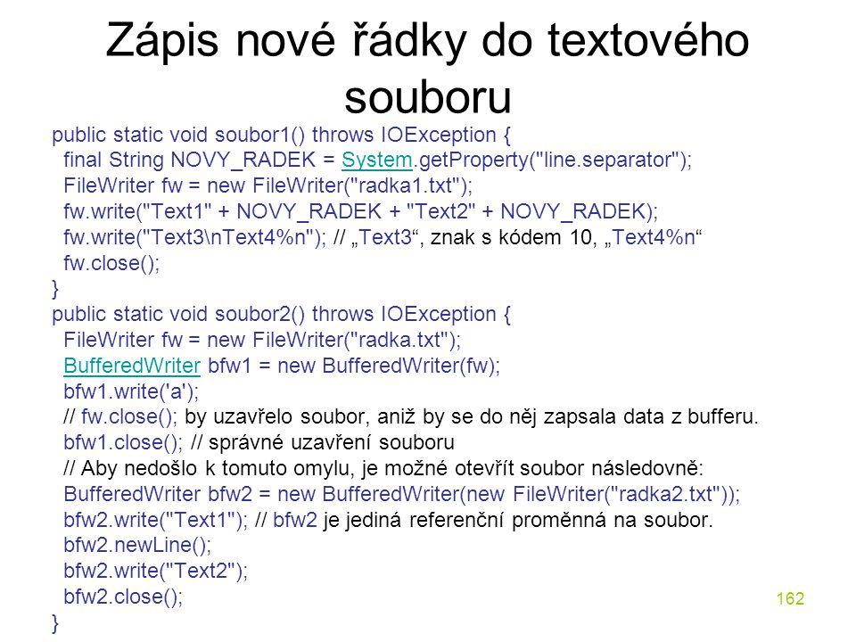 Zápis nové řádky do textového souboru
