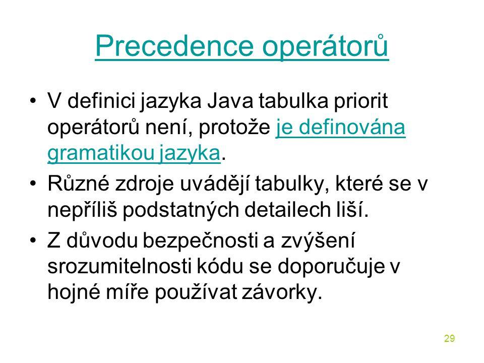 Precedence operátorů V definici jazyka Java tabulka priorit operátorů není, protože je definována gramatikou jazyka.