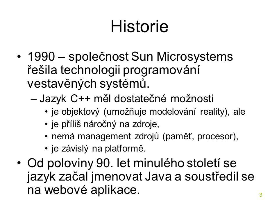 Historie 1990 – společnost Sun Microsystems řešila technologii programování vestavěných systémů. Jazyk C++ měl dostatečné možnosti.