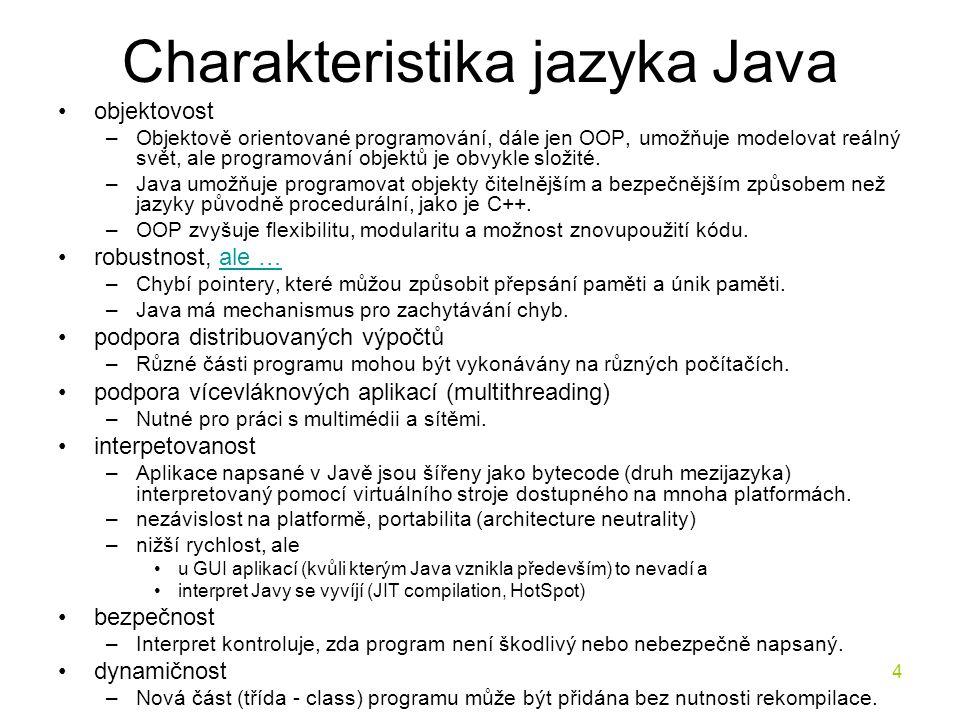 Charakteristika jazyka Java
