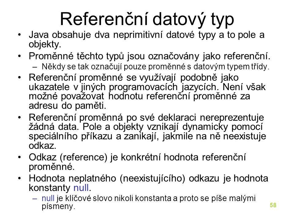 Referenční datový typ Java obsahuje dva neprimitivní datové typy a to pole a objekty. Proměnné těchto typů jsou označovány jako referenční.