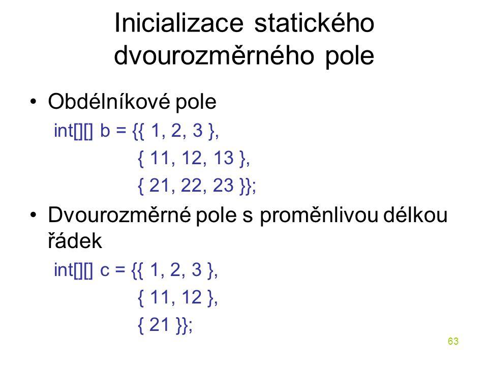 Inicializace statického dvourozměrného pole