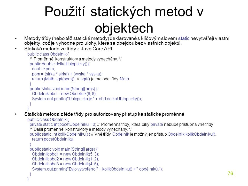 Použití statických metod v objektech