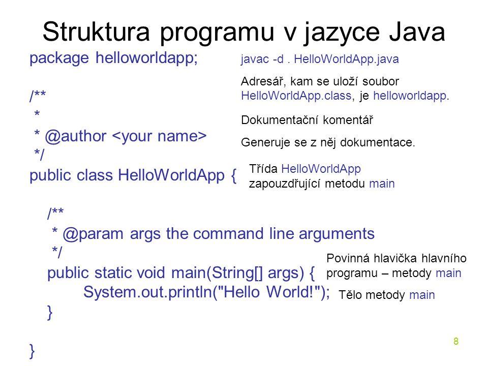 Struktura programu v jazyce Java
