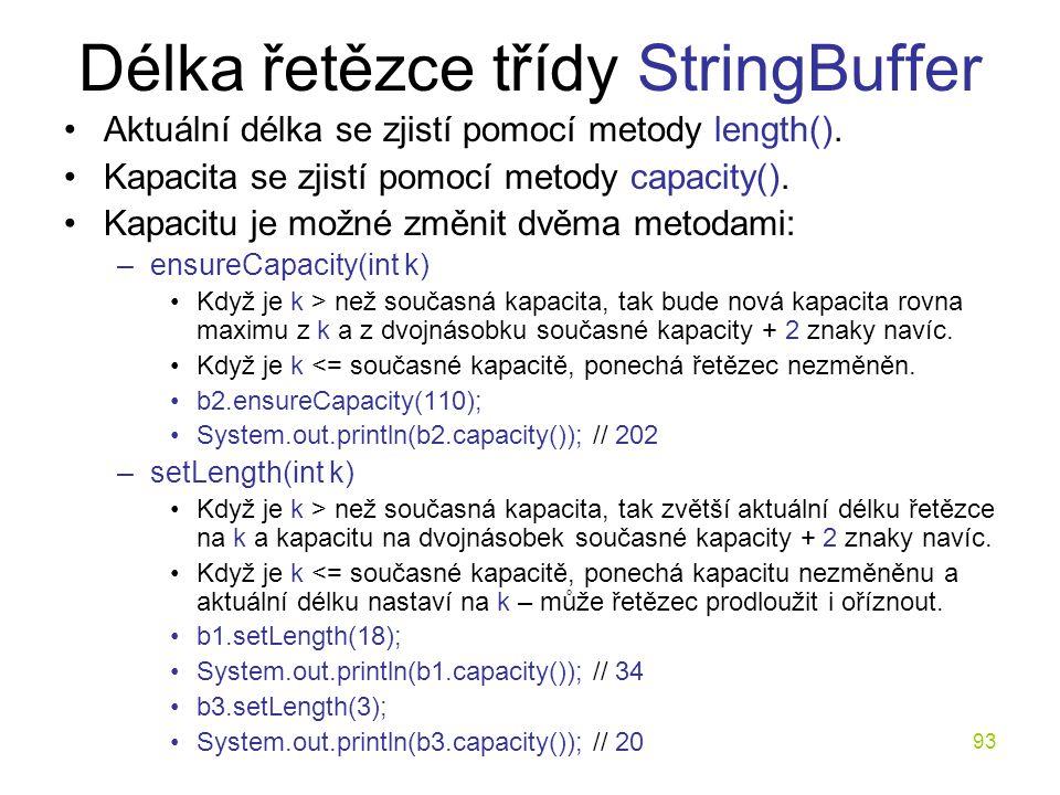Délka řetězce třídy StringBuffer