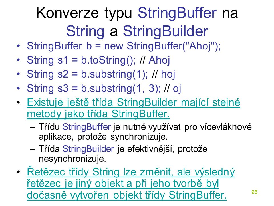 Konverze typu StringBuffer na String a StringBuilder