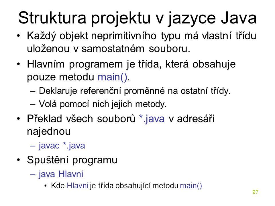 Struktura projektu v jazyce Java
