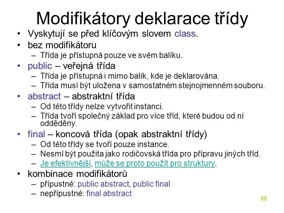 Modifikátory deklarace třídy