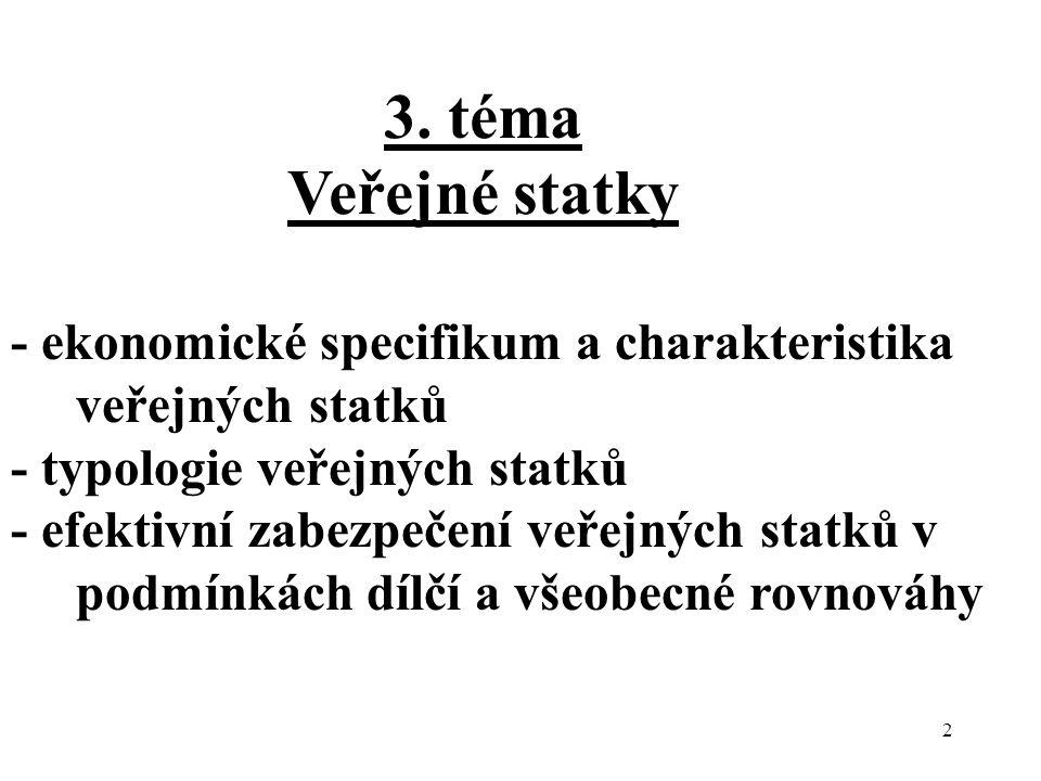 3. téma Veřejné statky. - ekonomické specifikum a charakteristika veřejných statků. - typologie veřejných statků.